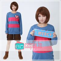 STOCK Girly Pin Heart Game Undertale Frisk Heart Blue Pullover Sweater Cosplay Top S XL