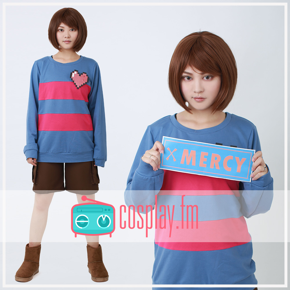 [STOCK] Girly Pin Heart Game Undertale Frisk Heart Blue Pullover Sweater Cosplay Top S-XL Hot sale free shipping