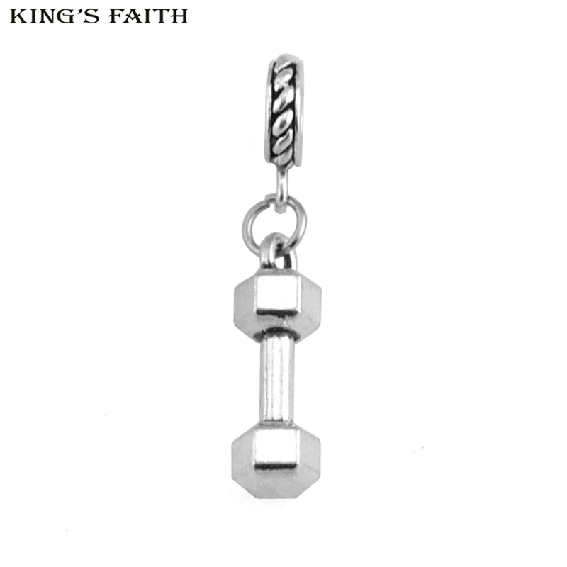 7da310220 Detail Feedback Questions about KING'S FAITH Classic Silver Color Sport  Dumbbell Pendants Fit pandora Charms Bead Bracelet DIY Fashion Jewelry  Making SPP176 ...