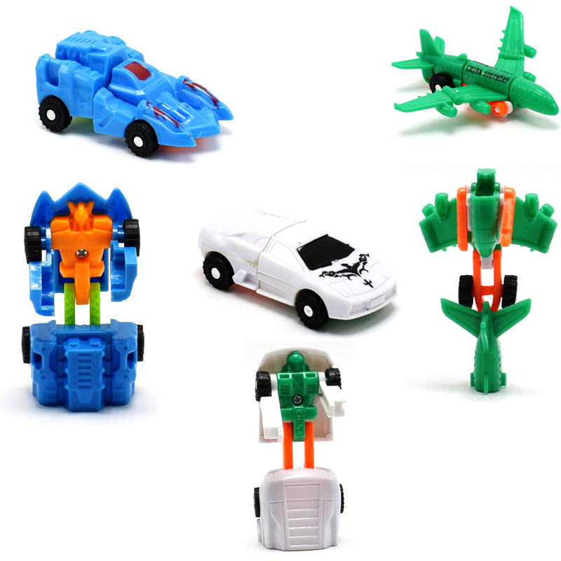 20pcs/lot Mini Deformation Robot Car Deformation Cars Models Small Plane Ship Chariot Action Figures Toy Kids Randomly Wholesale
