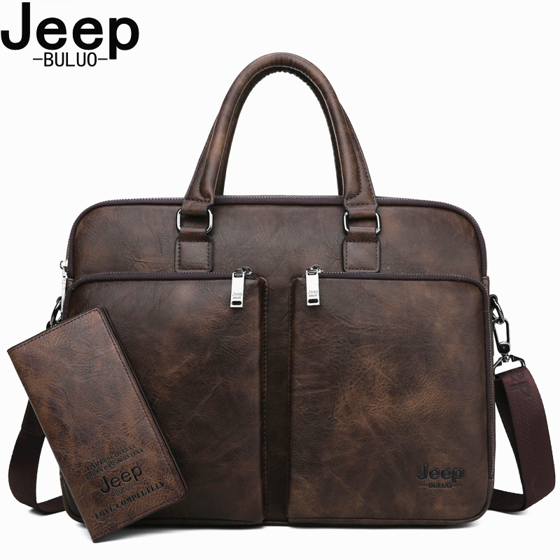 JEEP BULUO Brand Men Laptop Business Bags Handbags High end Man Briefcase Large Capacity Leather Casual