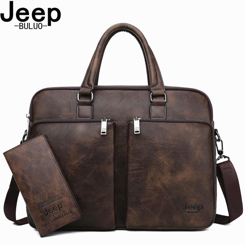 JEEP BULUO Brand  Men Laptop Business Bags Handbags High-end Man Briefcase Large Capacity Leather Casual Shoulder Bag For Men