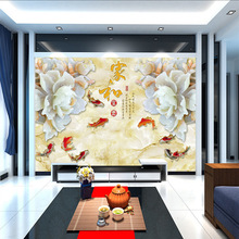 лучшая цена Customized wallpaper mural 3D jade carving Chinese painting with flower fash behind sofa as background in living room