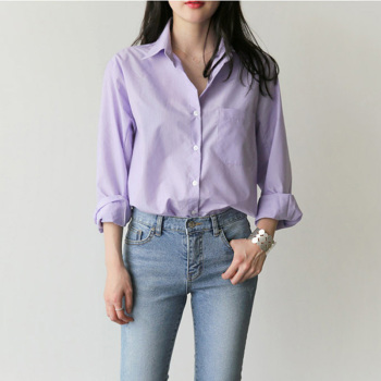 Spring Women Blouse Striped Turn-down Collar Office Lady Tops Full Sleeve Women Shirts Light Purple Fashion Female Tops blusas 1