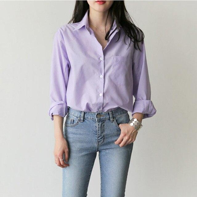 Spring Women Blouse Striped Turn-down Collar Office Lady Tops Full Sleeve Women Shirts Light Purple Fashion Female Tops blusas 1