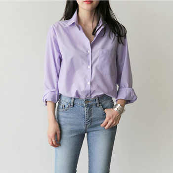 One Pocket Women's Blouse and Tops Turn-down Collar Full Sleeve Women Shirts Light Purple Female Tops blusas mujer de moda 2019 - DISCOUNT ITEM  46% OFF All Category