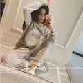Women Home Nightclothes Sets Long Sleeve O-neck Sweatshirts+ Pants Cartoon Warm Fleece Soft Pajama Sleep Suits M1038