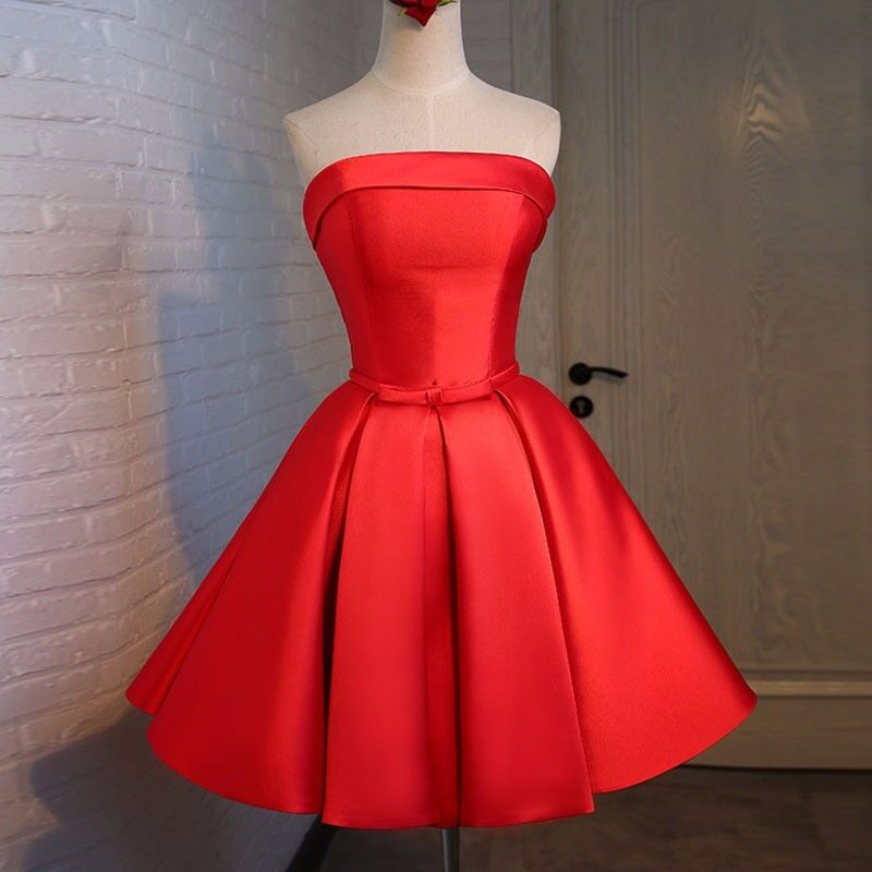Simple And Elegant White Satin Sweetheart With Jacket: Hot Sale Red Satin Short Prom Dresses Strapless Knee
