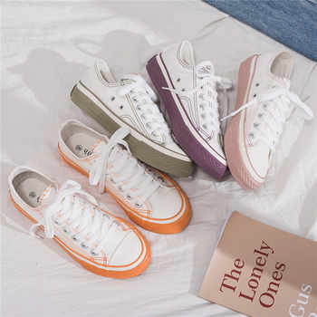 Women Sneakers 2019 New Spring Korean Canvas Shoes for Female Students Casual Shoes Lace Up Girl Pink Shoe Stylish All Match - DISCOUNT ITEM  31% OFF All Category