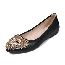 Women Shoes Flats Designer Luxury 2019 Ballet Crystal Shallow Fashion Casual Pointed Slip-On Plus Size 34-42