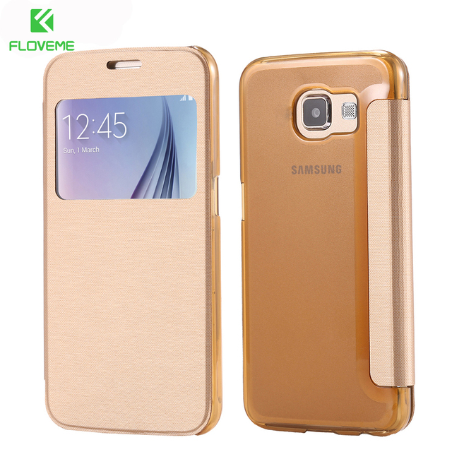 best service 25a21 3f2cb US $4.6 |FLOVEME For Galaxy S6 Edge S8 Plus Cases View Window Flip Case For  Samsung Galaxy S6 Edge Plus S7 Edge S7 S8 Plus Leather Cover-in Flip Cases  ...