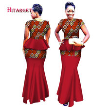 2018 Hitarget African Women 2 Piece Set Dashiki Cotton Print Wax Crop Top  African Traditional Woman Clothing WY2534 c7181ea6a779