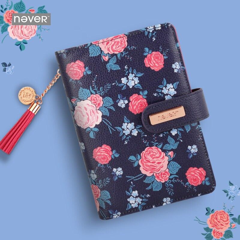 Yiwi JAMAIS Rosier Série Personnelle Diary couverture En Cuir A6 agenda Organizer planificateur Portable pour les filles Vintage École papeterie