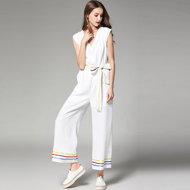 47c7a53685 2018 New Spring Summer Thin Jumpsuit Women Sashes Jumpsuits Rompers V Neck  Sleeveless White Casual Striped Jumpsuit Elastic