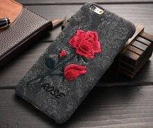 Урожай 3D Роуз Вышивка Чехол Для Apple iPhone 6 6 s Плюс Тонкий мягкий Силиконовый Чехол Для iPhone 6 s Plus Ударостойкой Прочный Корпус