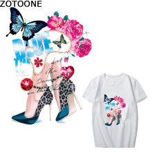 ZOTOONE Iron on Patches of DIY Womens Clothes with Flowers, Butterflies and High-heeled Shoes iron transfers for clothing D