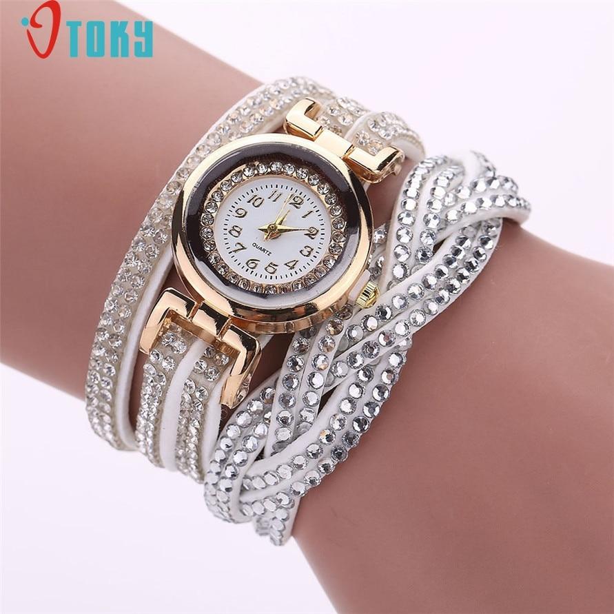 Drop Shipping Fashion Bracelet Quartz Wrist Watch Women Beautiful Rhinestone Clock Gift Watches 170628