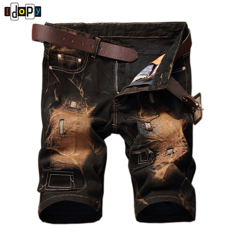 Summer Mens Retro Slim Fit Casual Jeans Vintage Washed Street Wear Cargo Denim Shorts With Holes For Men philosophy di a f короткое платье