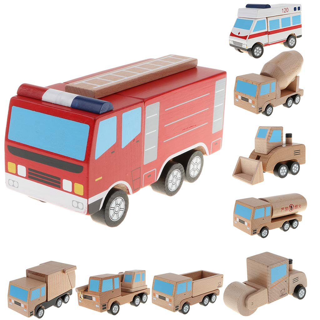 Magnetic Wooden Toy Car Truck Vehicle