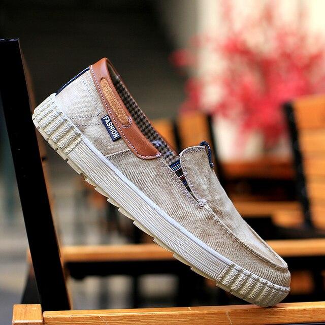2017 новое прибытие лето мужчины повседневная обувь classical винтаж мужчины обувь Джинсы Обувь Холст Slip On Denim Обувь Джинсы Ткань мягкий
