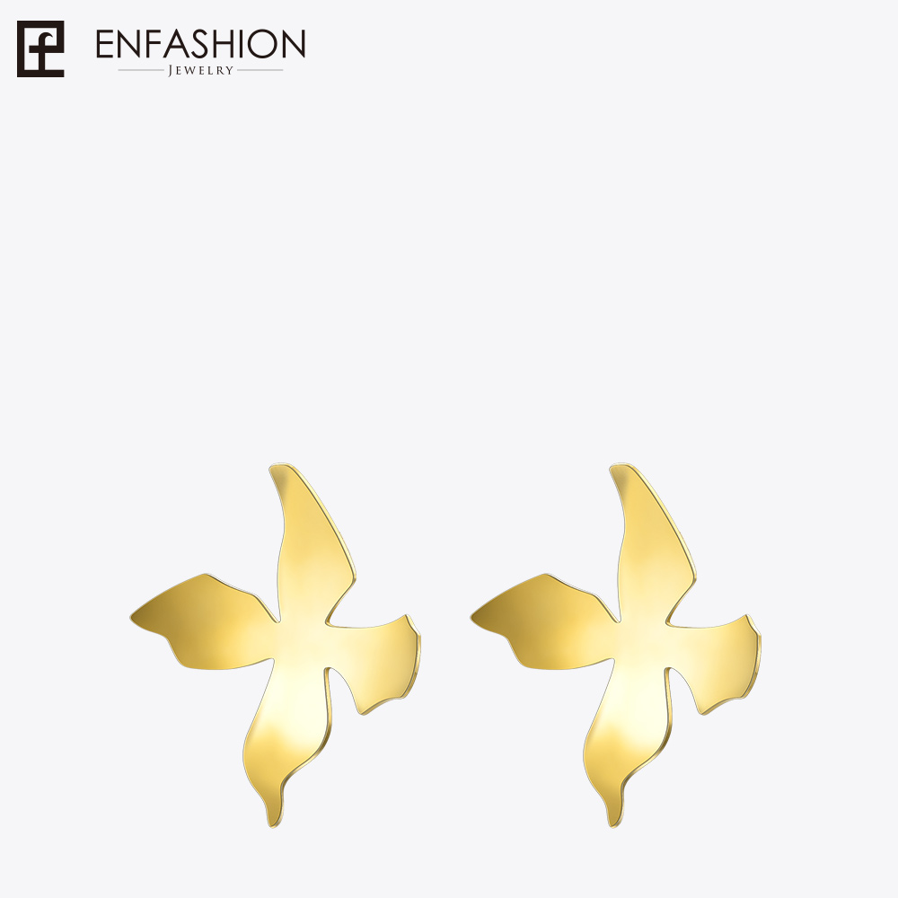 Enfashion Big Flower Stud Earrings Gold color Ear Jacket Stainless Steel Earrings for Women Earings Jewelry oorbellen Wholesale