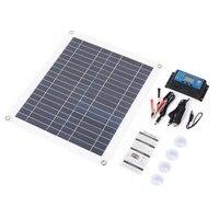 Solar Panel Charger 25W Solar Controller DIY Solar Panel Kit Regulator Dual USB Solar Panel System Polysilicon Power Supply