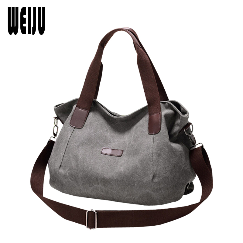 WEIJU New 2017 Women Bag Vintage Canvas Woman Handbags Shoulder Bags Casual Large Capacity Hobos Bag Cossbody Bag YR0281 weiju new canvas women handbag large capacity casual tote bag women men shoulder bag messenger crossbody bags sac a main