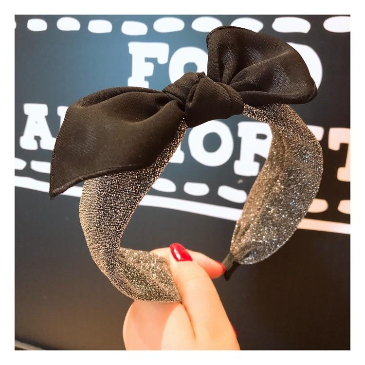 Brand Glitter Lace Hairband Head Band For Women New Shiny Sequin Rabbit Ear Knot Hair Hoop Headband Bezel Hair Accessories