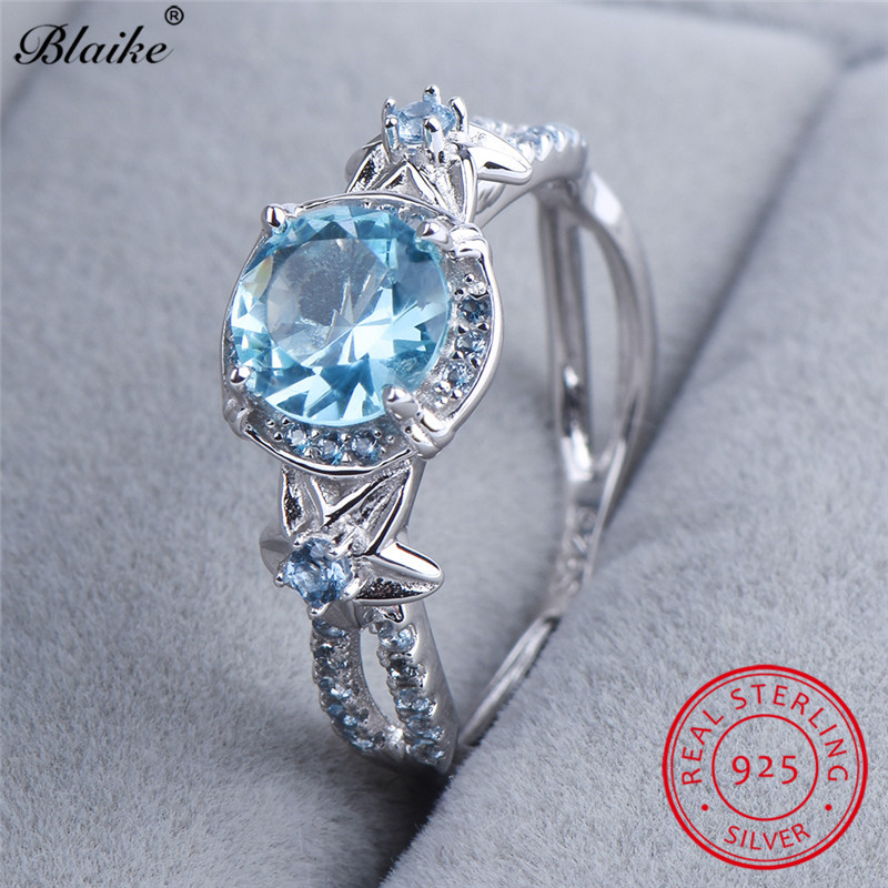 Blaike Spherical Aquamarine Star Flower Rings For Girls Real S925 Sterling Silver Lake Blue Zircon Ring March Birthstone Jewellery