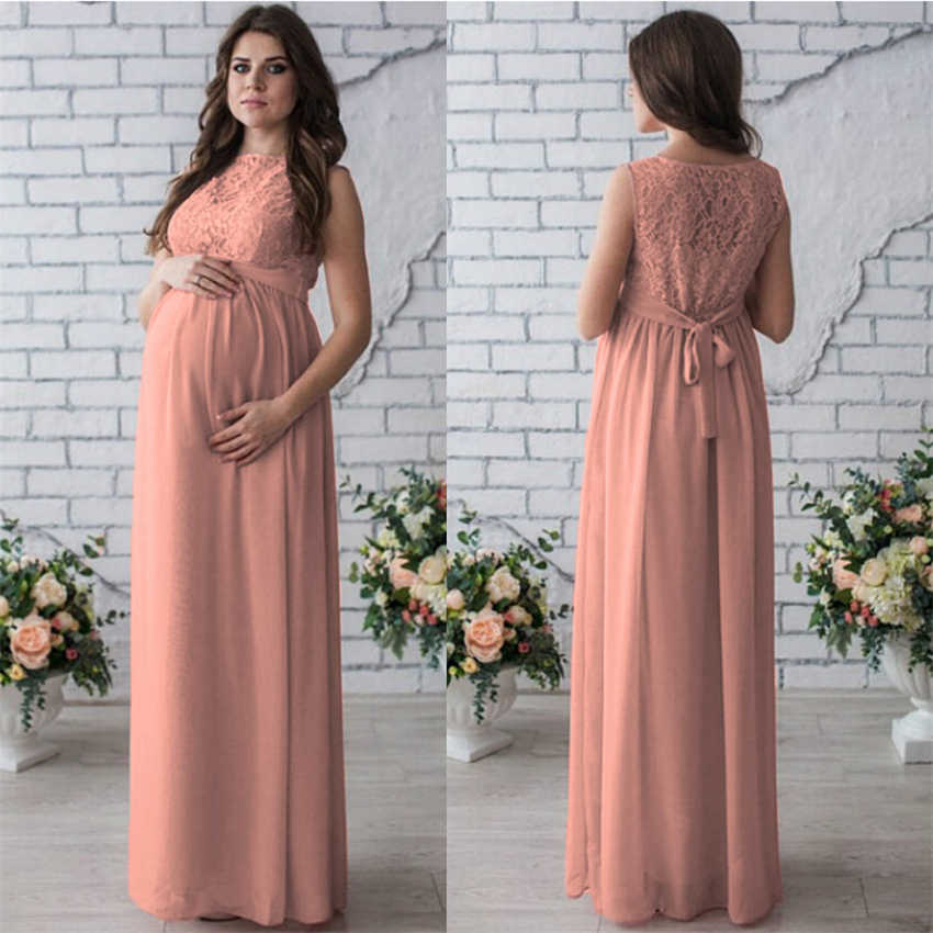 fcd3c71a89712 ... Women Maternity Pregnancy Dress Evening Party Wedding Long Maternity  Clothings Lace Red Wine Gown Pregnant Woman ...