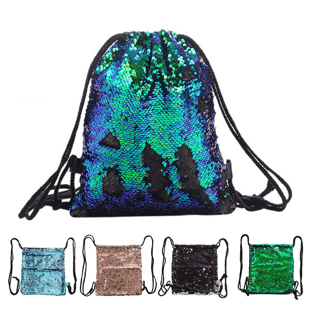 Reversible Glitter Drawstring Bags Women Sequins String Backpack Travel  Sports School Backpack