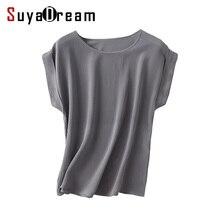 تي شيرت بأكمام قصيرة من الحرير الطبيعي للسيدات قميص شيفون سادة فضفاض 100% سادة بمقاسات كبيرة للنساء لموسم صيف 2019