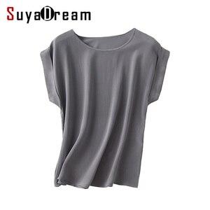Image 1 - Женская футболка из натурального шелка, однотонная Свободная шифоновая футболка с коротким рукавом летучая мышь, базовый топ из 100% натурального шелка, лето 2019