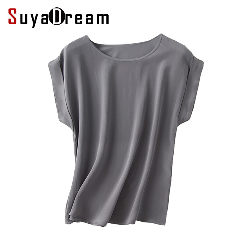 Women Real Silk T Shirt Short Bat Sleeved Solid Chiffon Loose Shirt 100% Natural Silk Basic Top Plus Size 2019 Summer Bottoming