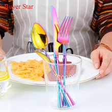 Gold Dinnerware Set 304 Stainless Steel Cutlery Western Food Tableware Christmas Gift Drop shipping