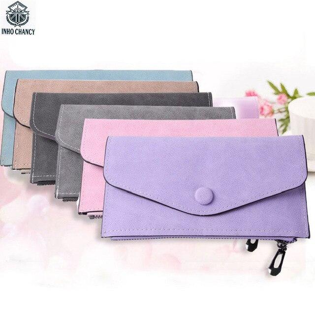 Inho рискованным Мода ультра тонкий Для женщин кошелек нубук сплошной длинный женский кошелек большой несколько Ёмкость дамы держателей карт