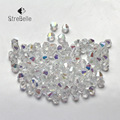 Frete grátis Branco AB Cor 100 pcs 4mm 6mm Bicone Áustria Grânulos de cristal charme Contas de Vidro Solto Spacer Bead para DIY jóias