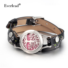 Everlead Tree of life Bracelets Real Leather Essential Oil Diffuser Screw Down 316L stainless steel Locket Bracelet