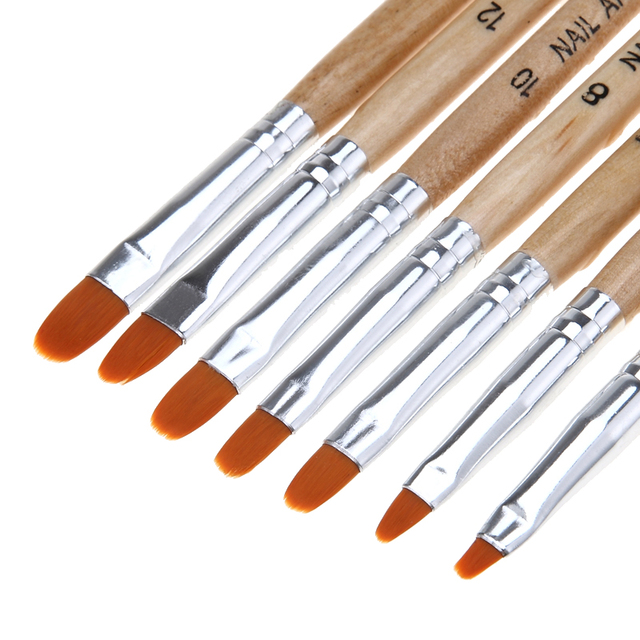 7 size wooden uv gel polish builder extension nail art brush previous next prinsesfo Image collections