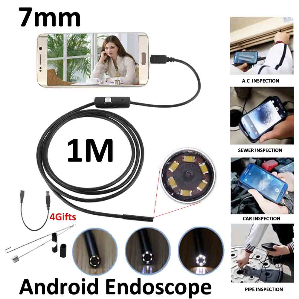 7mm Lens 1M OTG USB Android Endoscope Camera IP67 Waterproof Flexible Snake USB Inspection Android Camera OTG USB Borescope 2m android otg usb endoscope camera 7mm lens ip67 waterproof snake tube inspection android phone pc usb dection borescope camera