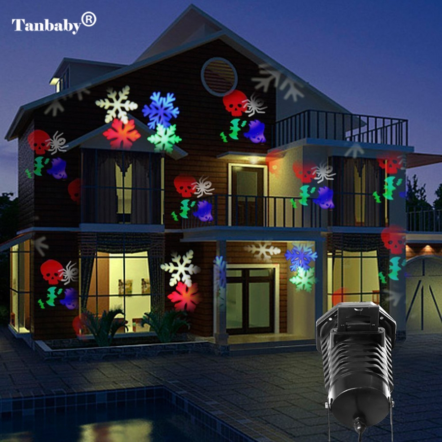 Tanbaby Christmas Laser Projector Lights 10 Replaceable Patterns Outdoor Decorations Party Halloween Patio Stage Lights