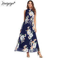 Ruiyige 2018 Women Summer Chiffon Boho Style Off Shoulder Long Floral Print Dress Elegant Vintage Party