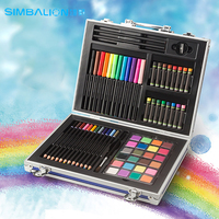 Simbalion Drawing Box Art Set Include solid Watercolor/Oil Pastel/Color Pencil Painting Group For School Supply And Kid's Gift
