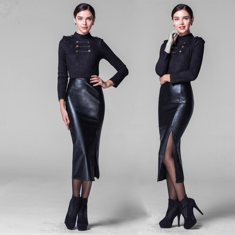 New Open fork Long style Leather skirt Women Fashion Package ...