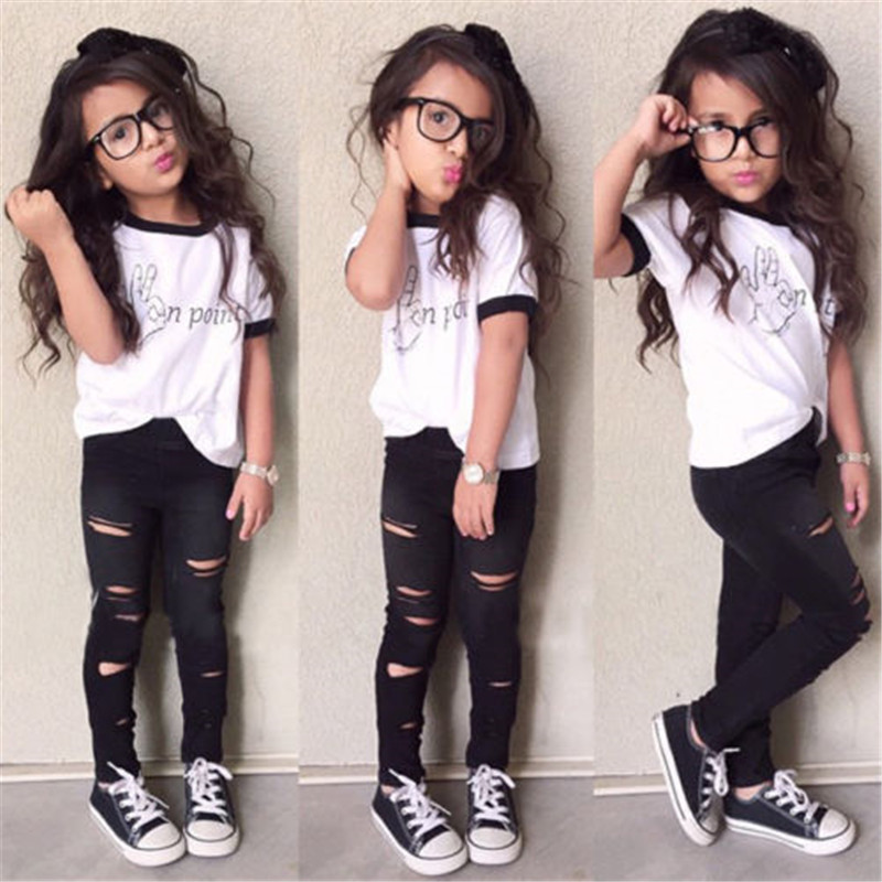 4330c16fa Fashion Stylish Kids Baby Girls Clothes Tops T shirt Pants Leggings Outfits  Set Age 2 7Y-in Clothing Sets from Mother & Kids on Aliexpress.com |  Alibaba ...