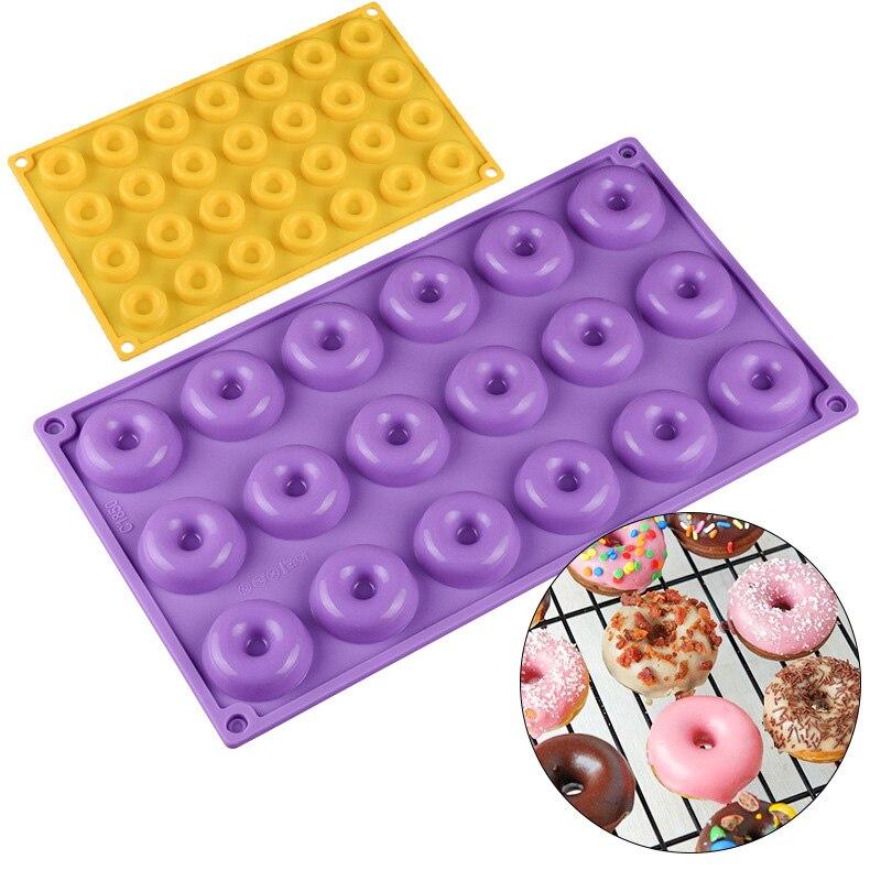 18 полости силиконовые пончики формы для выпечки 24 ячейки мини-шоколадное печенье торт выпечка десертная форма желе Кондитерские инструмен...