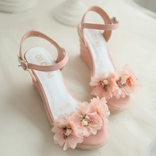 New lolita girls princess preppy style women's Pumps shoes big flower wedges princess Pumps high-heeled uniform shoes