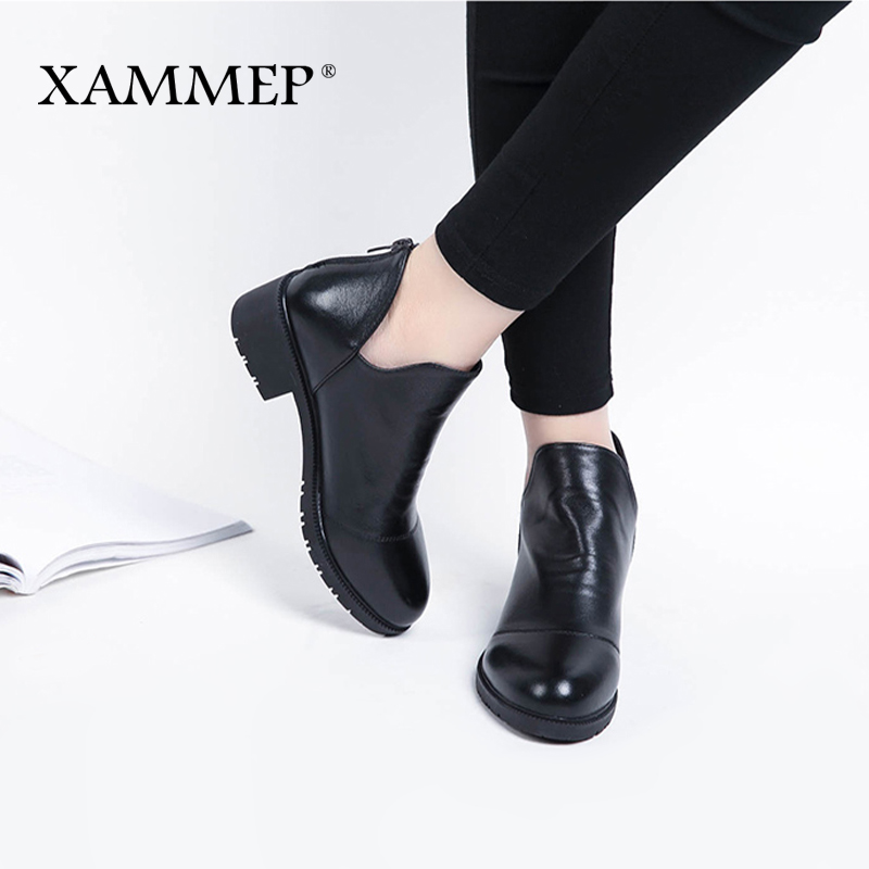 Xammep Womens Shoes Spring Autumn Women Genuine Real Leather Pump Shoes Big Size High Quality Brand Women Dress Office Shoes