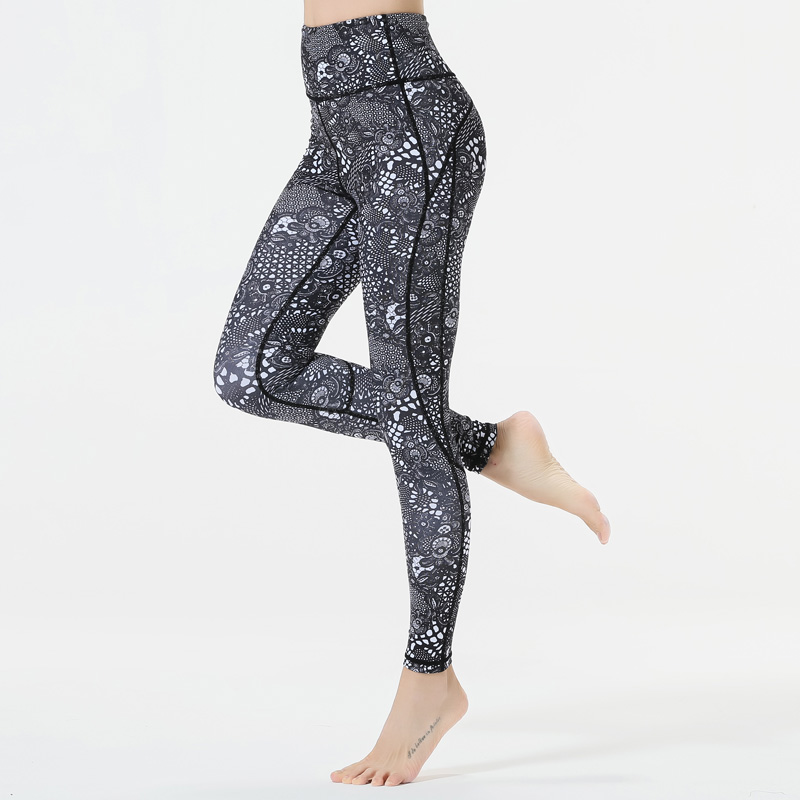 Printed High Waist Yoga Pants Step on foot Sports Leggings Fitness Running Tights Gym Sportswear Sports Trousers Leggins in Yoga Pants from Sports Entertainment