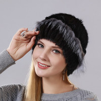 new style women's warm winter hat Imported mink with The little flowers made of rabbit fur surround the hat and fox fur lower